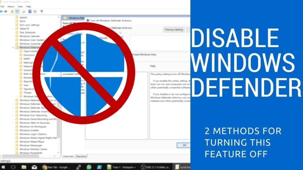 Temporarily Disable Windows Defender Win 10 How to