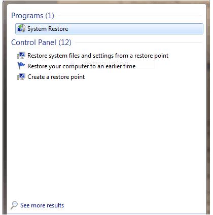 Dell Computer Restore Point