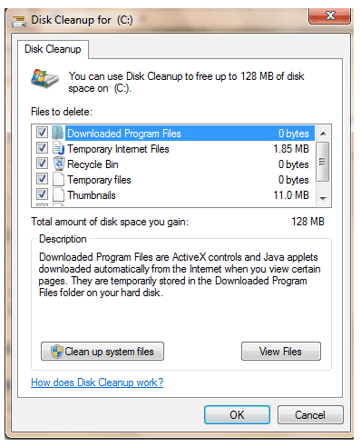 disk cleanup finished