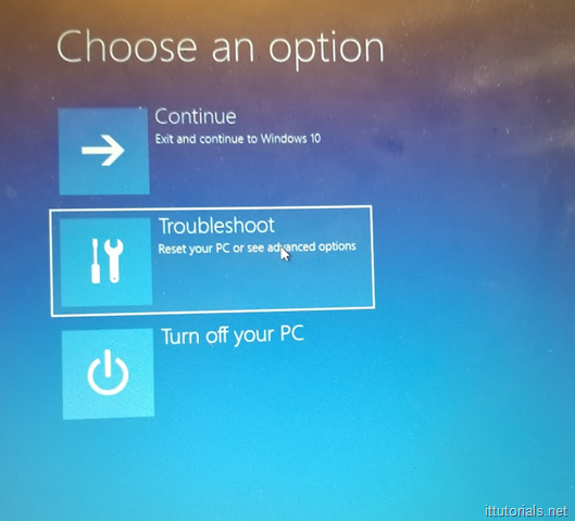 Reset Windows Option