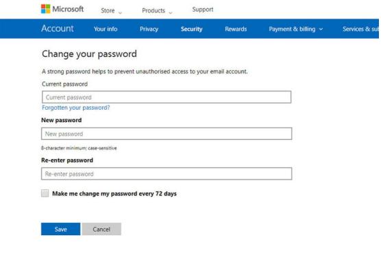 Outlook create new password