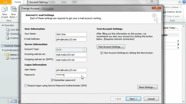 Outlook email settings
