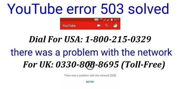 How to Fix Youtube Error 503?