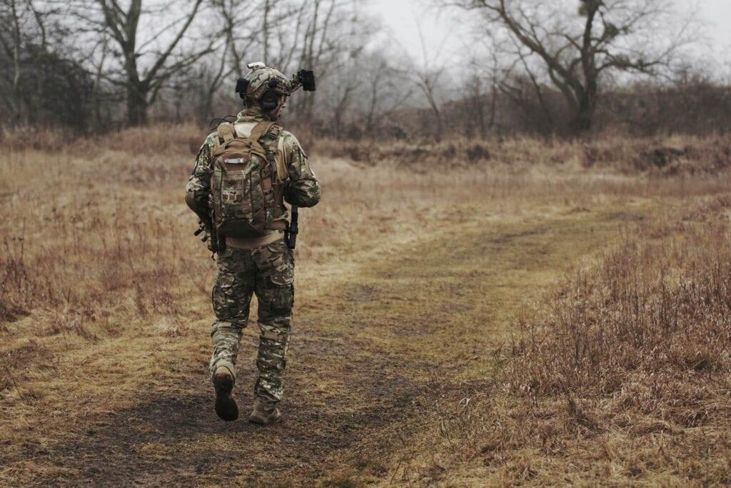 Soldier Walking in Uniform